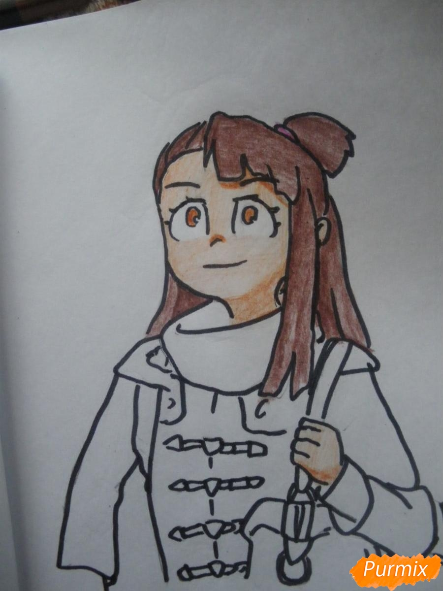 Рисуем Акко из аниме Академия ведьмочек - фото 9
