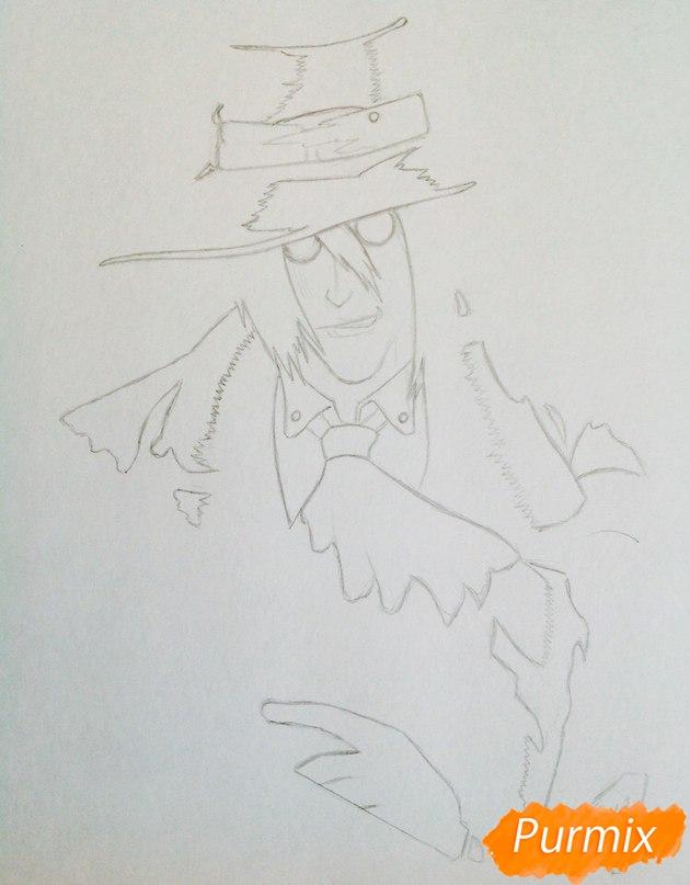 Рисуем Алукарда из аниме Хеллсинг цветными карандашами - шаг 1
