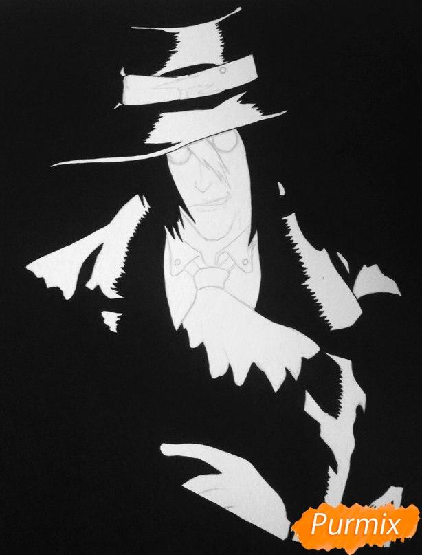 Рисуем Алукарда из аниме Хеллсинг цветными карандашами - шаг 3