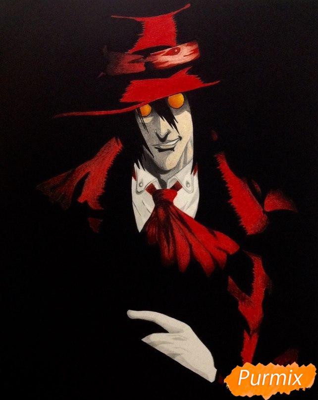 Рисуем Алукарда из аниме Хеллсинг цветными карандашами - шаг 7
