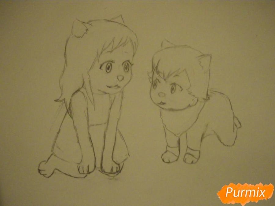 Рисуем Аме и Юки в детстве из аниме Волчьи дети Амэ и Юки - шаг 5