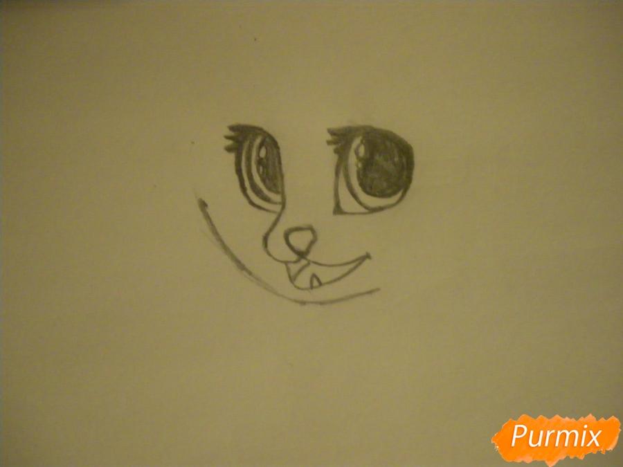 Рисуем аниме цветочную кошечку - шаг 2
