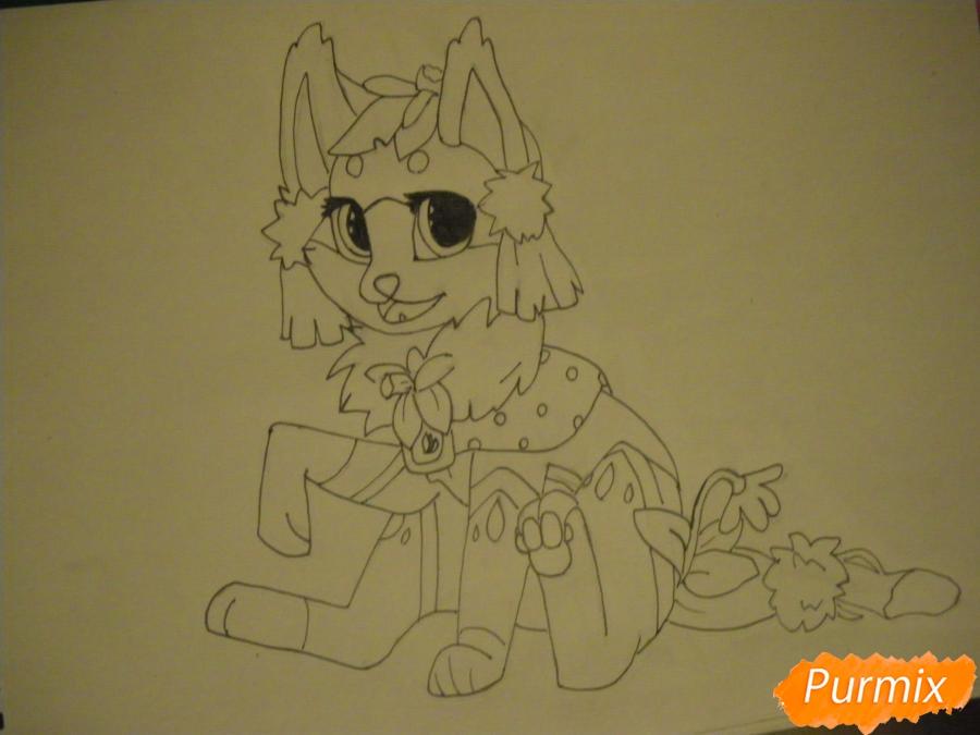 Рисуем аниме цветочную кошечку - шаг 8