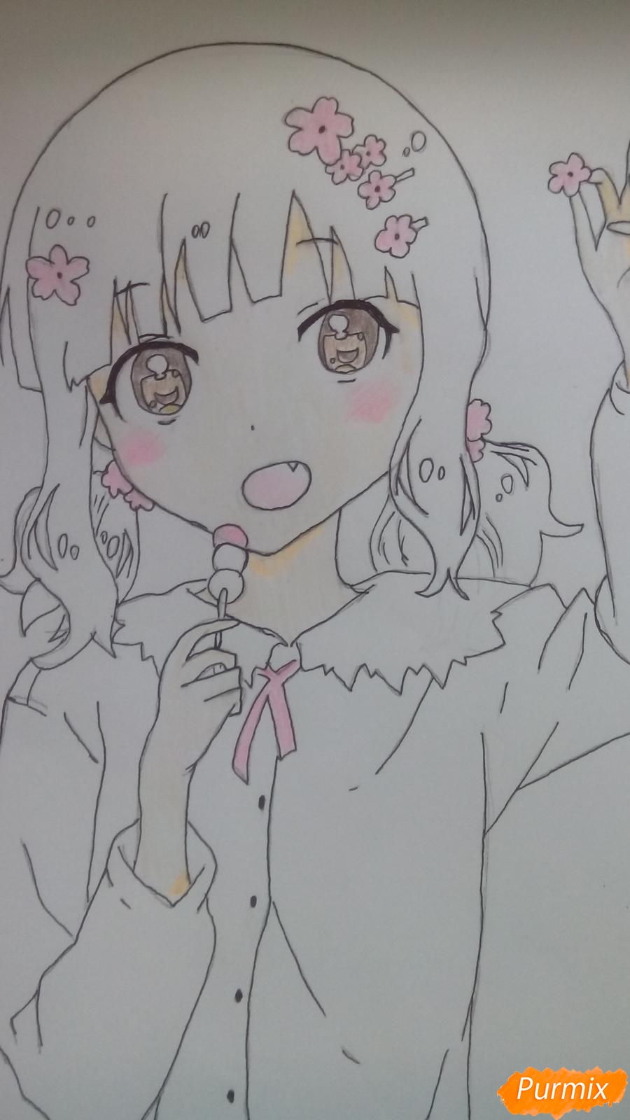 Рисуем аниме девочку c цветочками карандашами - шаг 10