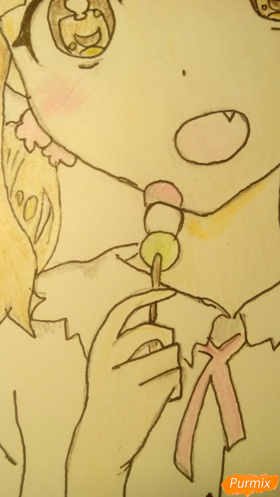 Рисуем аниме девочку c цветочками карандашами - шаг 13