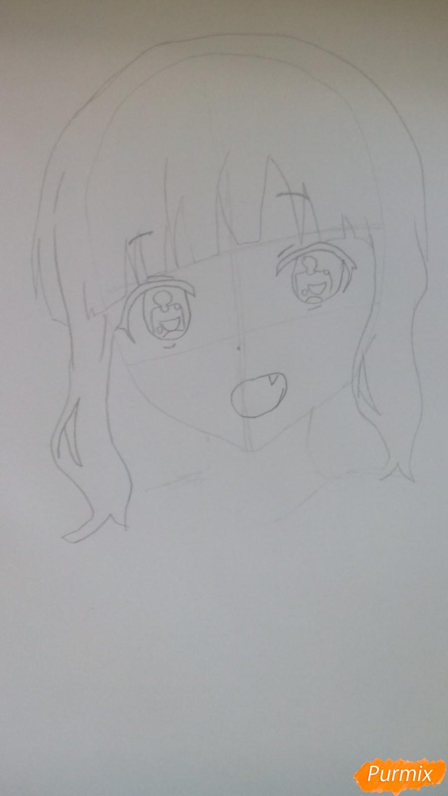 Рисуем аниме девочку c цветочками карандашами - шаг 3