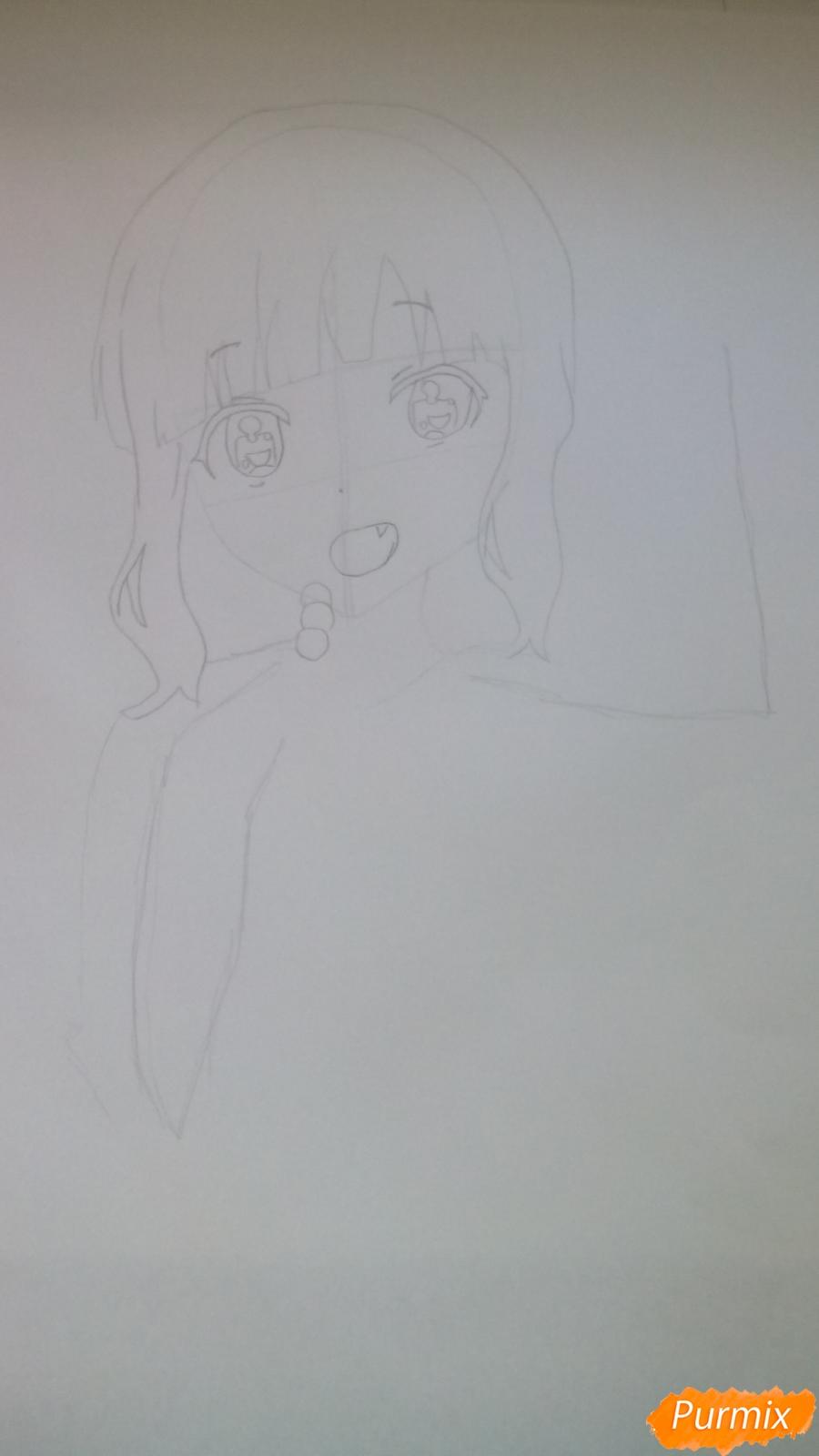 Рисуем аниме девочку c цветочками карандашами - шаг 4