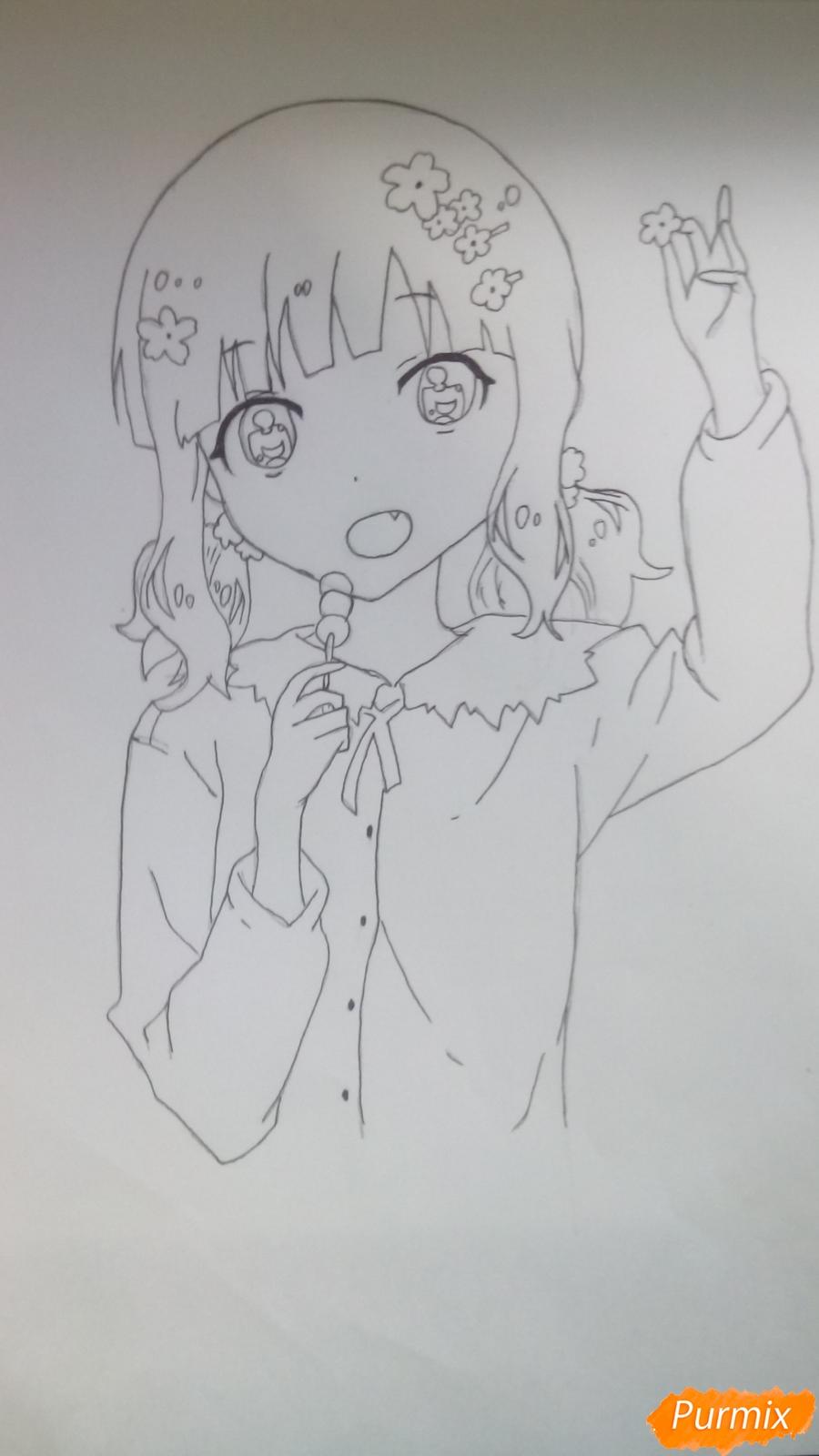 Рисуем аниме девочку c цветочками карандашами - шаг 7