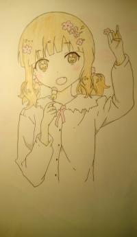 Рисунок аниме девочку c цветочками