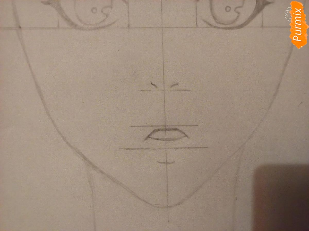 Рисуем аниме девочку в красных очка карандашами - шаг 3