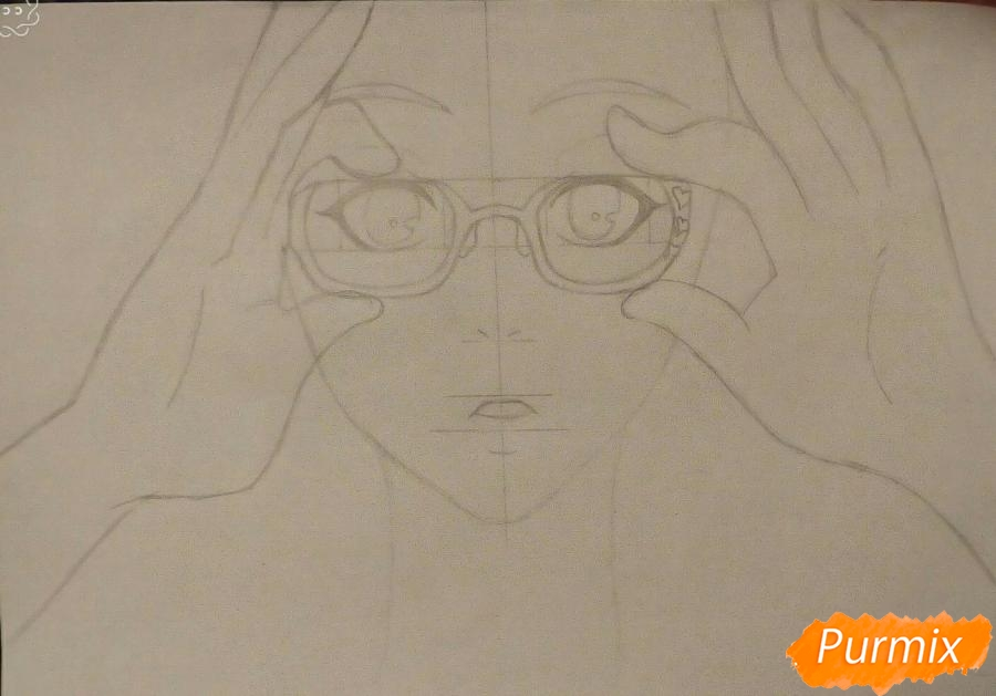 Рисуем аниме девочку в красных очка карандашами - шаг 5