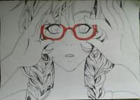 Фото аниме девочку в очках карандашами