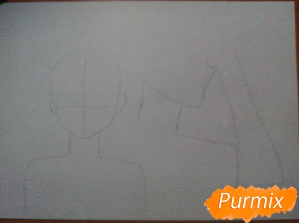 Рисуем аниме девушку и парня цветными карандашами - шаг 1