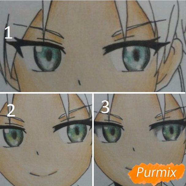 Рисуем аниме девушку и парня цветными карандашами - шаг 10