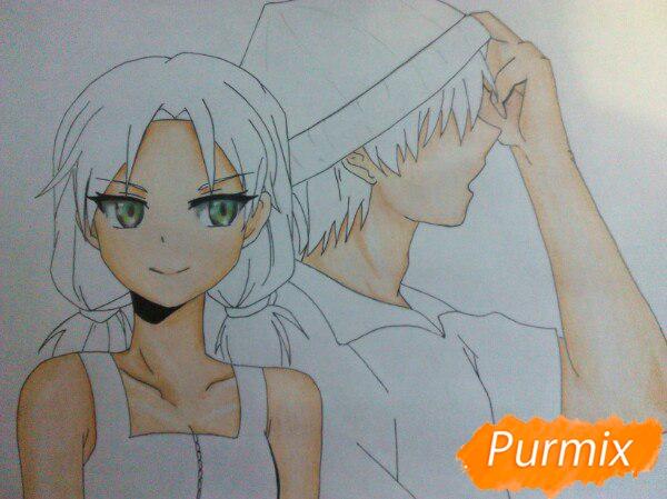 Рисуем аниме девушку и парня цветными карандашами - шаг 11