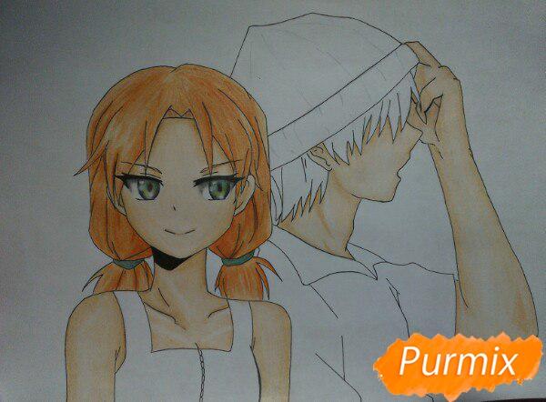 Рисуем аниме девушку и парня цветными карандашами - шаг 12