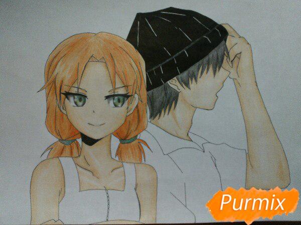 Рисуем аниме девушку и парня цветными карандашами - шаг 13