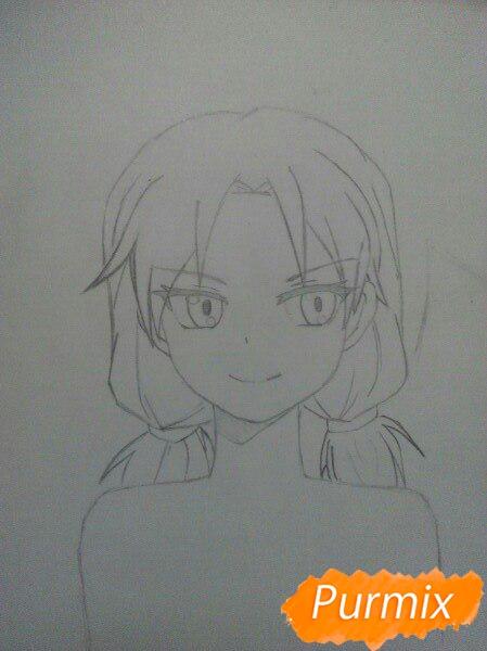 Рисуем аниме девушку и парня цветными карандашами - шаг 3
