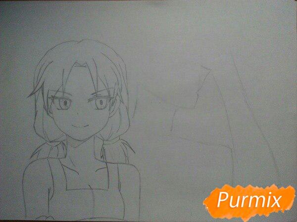 Рисуем аниме девушку и парня цветными карандашами - шаг 5