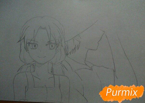 Рисуем аниме девушку и парня цветными карандашами - шаг 6