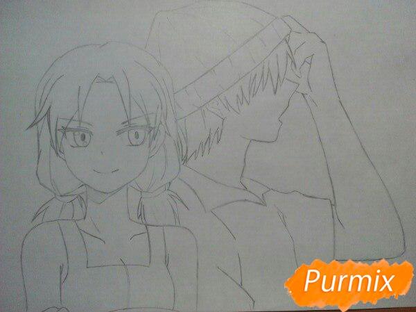 Рисуем аниме девушку и парня цветными карандашами - шаг 7