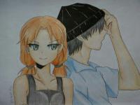 Фото аниме девушку и парня карандашами