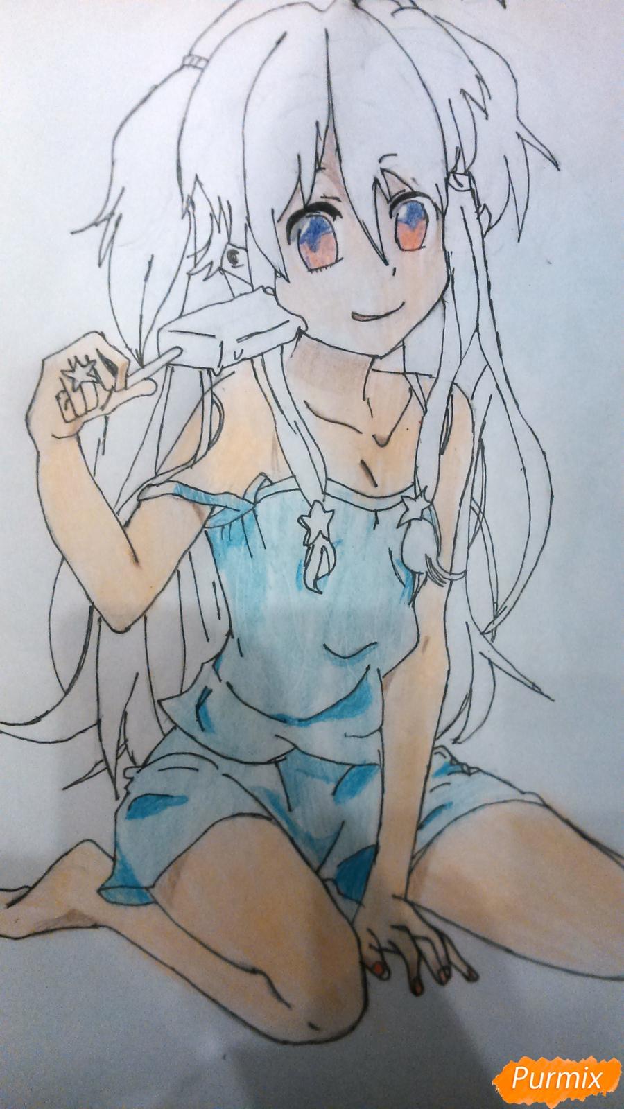 Рисуем аниме девушку с мороженом цветными карандашами - фото 8