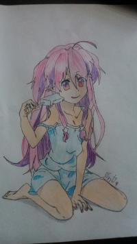 Фотография аниме девушку с мороженом цветными