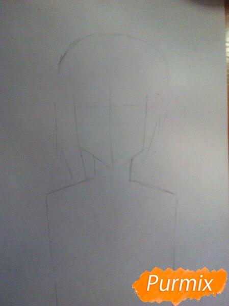 Рисуем аниме девушку с ушками цветными карандашами - шаг 1