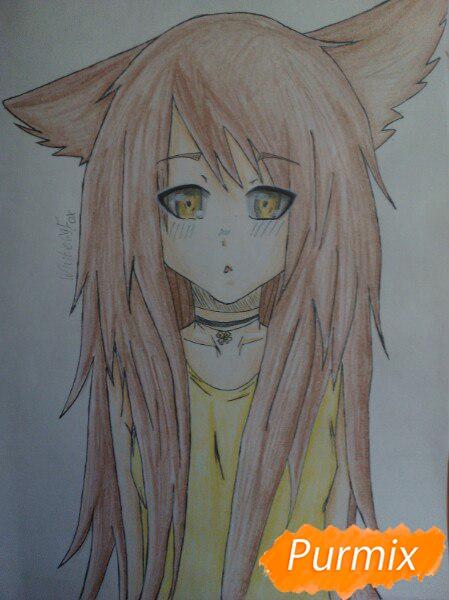 Учимся рисовать аниме девушку с ушками цветными карандашами - шаг 10