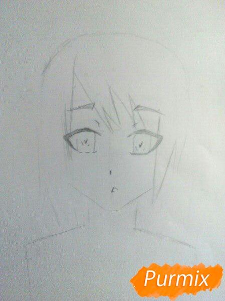 Рисуем аниме девушку с ушками цветными карандашами - шаг 2