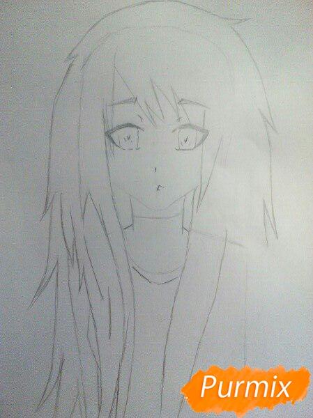 Рисуем аниме девушку с ушками цветными карандашами - шаг 3