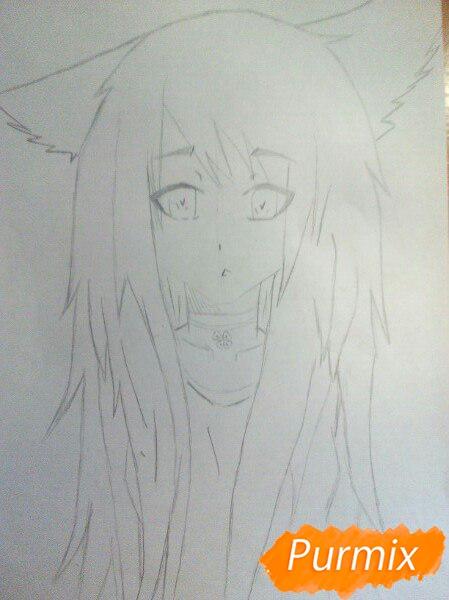 Рисуем аниме девушку с ушками цветными карандашами - шаг 4