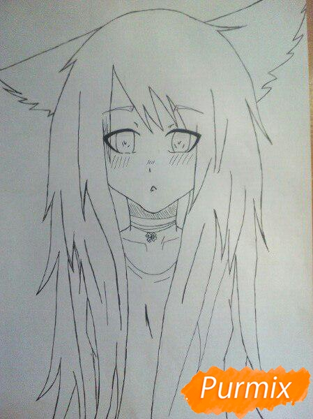 Рисуем аниме девушку с ушками цветными карандашами - шаг 5