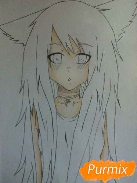 Рисуем аниме девушку с ушками цветными карандашами - шаг 6