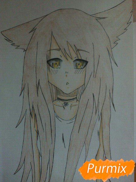 Учимся рисовать аниме девушку с ушками цветными карандашами - шаг 8