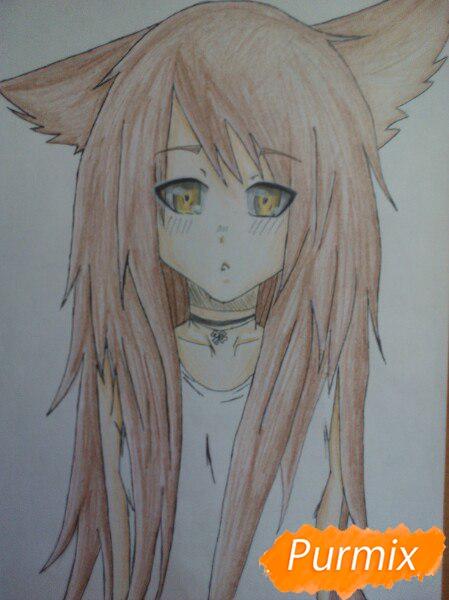 Рисуем аниме девушку с ушками цветными карандашами - шаг 9