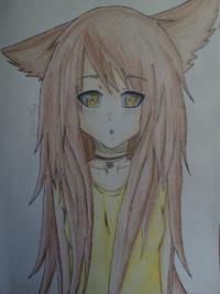 Рисунок аниме девушку с ушками цветными