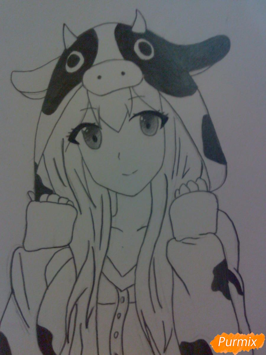 Рисуем аниме девушку в костюме коровки - фото 5