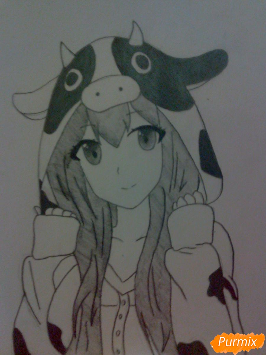 Рисуем аниме девушку в костюме коровки - фото 6