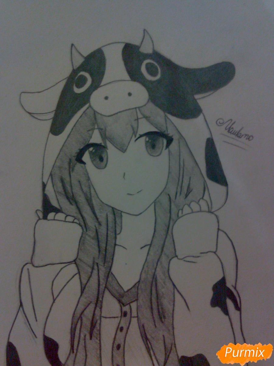 Как нарисовать аниме девушку в костюме коровки поэтапно