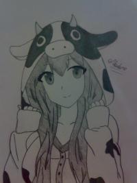 аниме девушку в костюме коровки карандашами