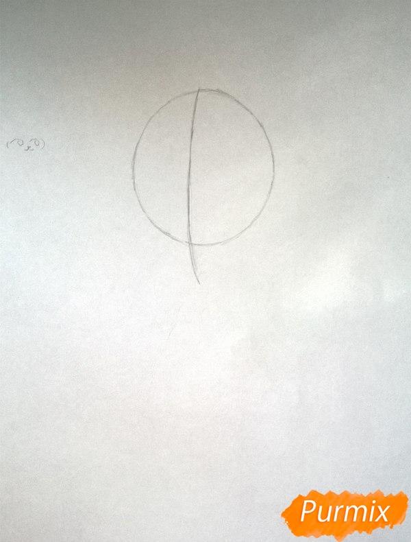 Рисуем аниме девушку в наушниках цветными карандашами - шаг 1