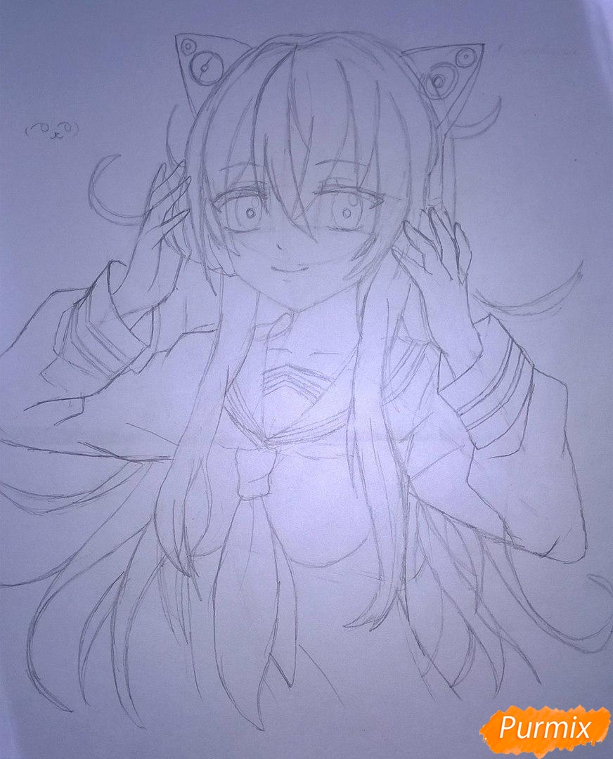 Рисуем аниме девушку в наушниках цветными карандашами - шаг 9