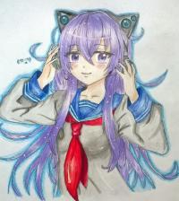 Рисунок аниме девушку в наушниках цветными