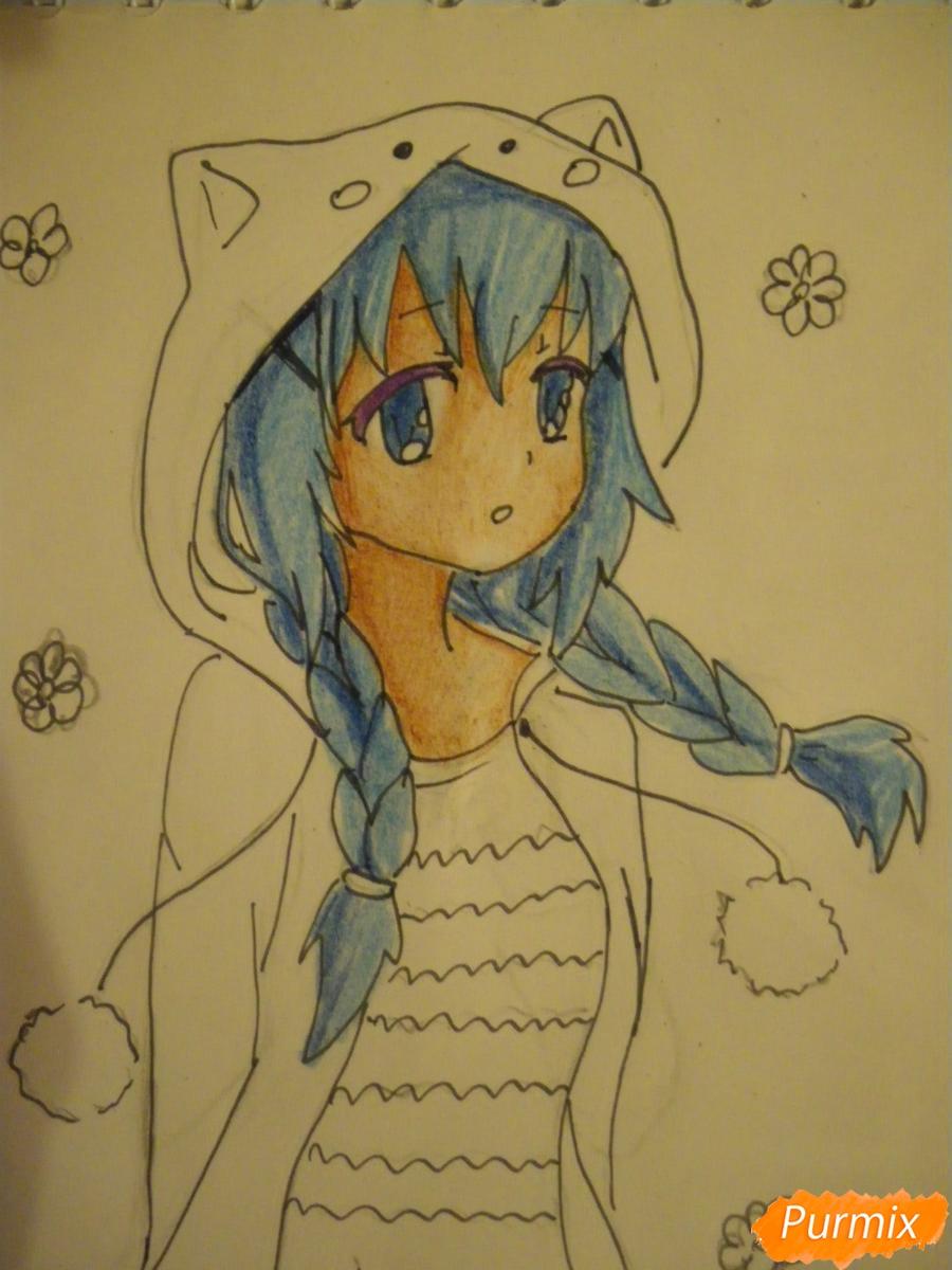 Рисуем аниме девушку в пижаме  для начинающих - шаг 10
