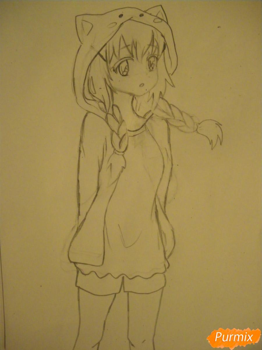 Рисуем аниме девушку в пижаме  для начинающих - шаг 6