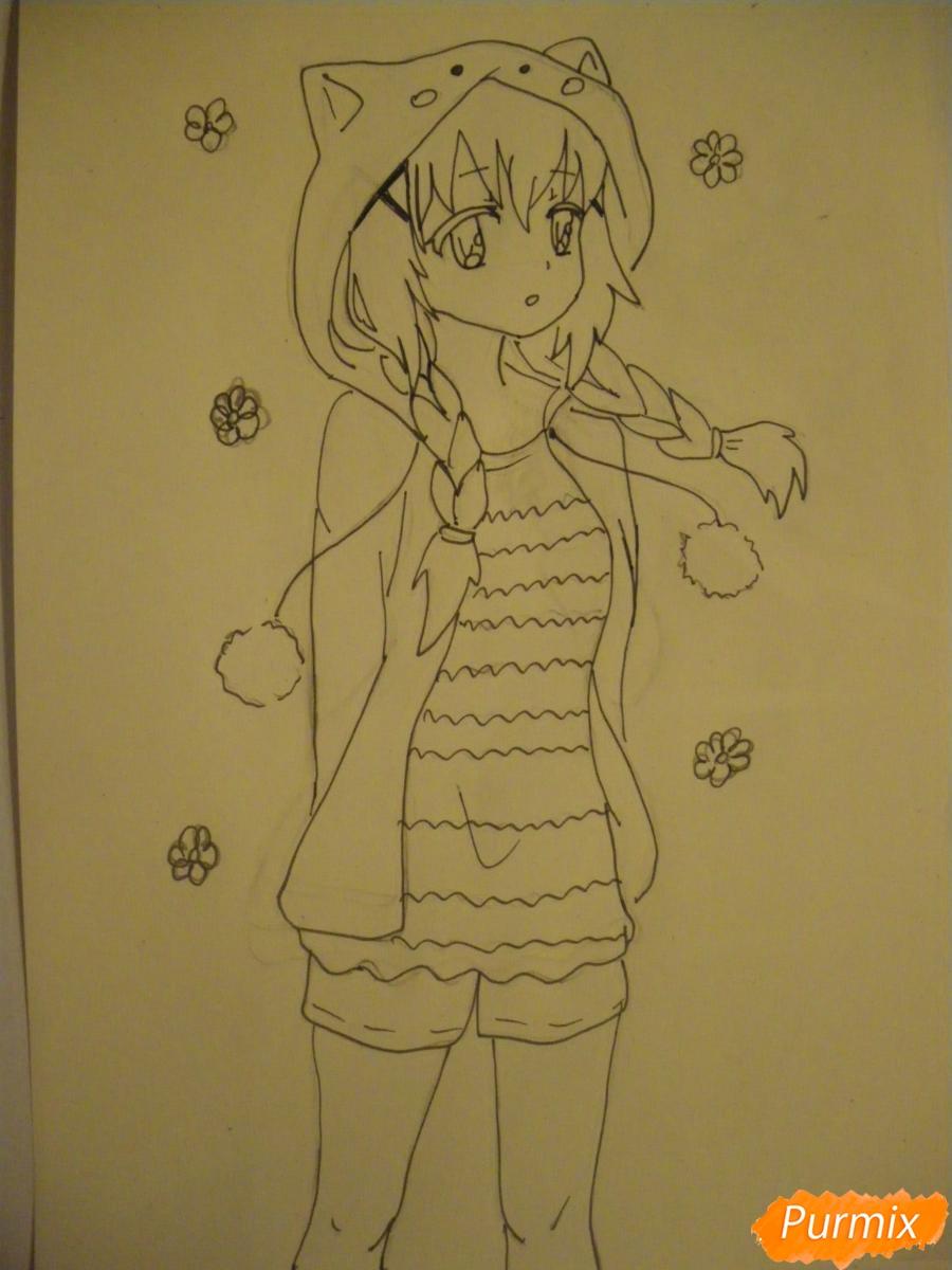 Рисуем аниме девушку в пижаме  для начинающих - шаг 8