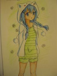 Рисунок аниме девушку в пижаме для начинающих