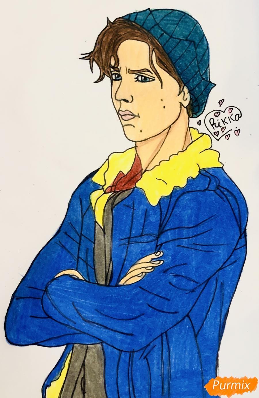 Как нарисовать Джагхеда в стиле аниме из сериала Ривердейл поэтапно